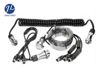 China 7 Pin Spring Coiled Electrical Cable With 3 AV Inputs For Rearview Car Camera System supplier