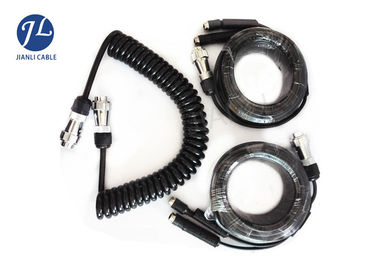 China Heavy Duty 7 Pin Coiled Trailer Cable For Backup Camera Monitoring System supplier