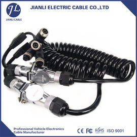 China Custom Tractor Coiled Power Cable With 7 Pole Female To Female Connector supplier