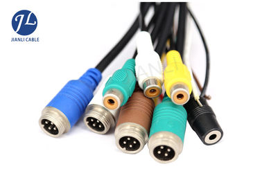 China Rear View Camera Video Power Cable With 4 Pin Male To Female Aviation Connector supplier