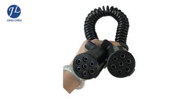China Retractile Spiral Power Cord With 7 Pin Waterproof Plug For Auto Rear Camera Systems supplier