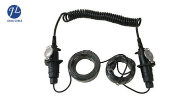 China Black Spring Electrical Spiral Power Cord For Trailer Truck Backup Monitor System supplier