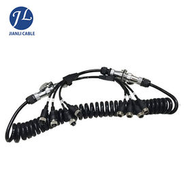 China Truck Rear View Camera System Truck Trailer Coiled Cable , Waterproof 7 Pin Cable supplier