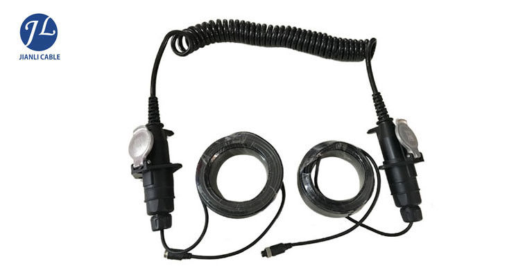 waterproof 7 pin spiral extension cord cable for truck