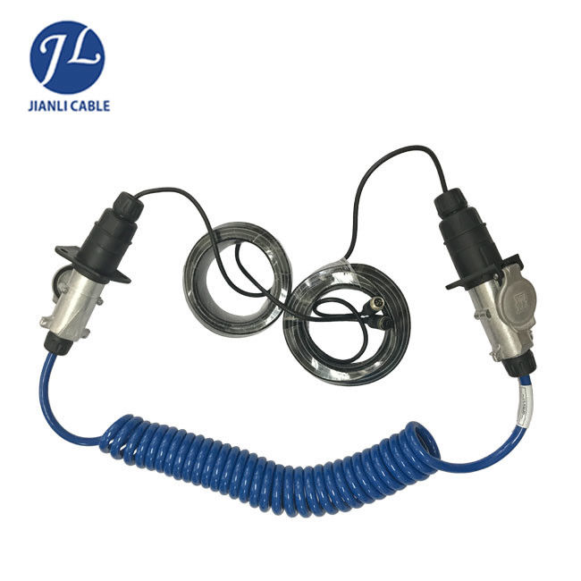 Trailer Coiled Electrical Cables : Trailer car reverse camera cable kits pin with spring