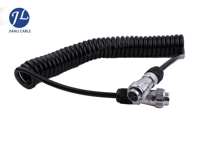 Retractable Fire Truck Coiled Wire Cable With 5 Pin Locking ...