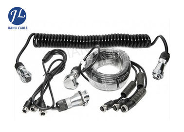 China 7 Pin Spring Coiled Electrical Cable With 3 AV Inputs For Rearview Car Camera System distributor
