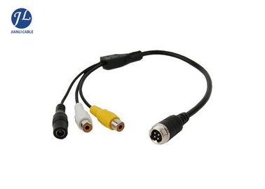 China Male To Female 4 Pin Aviation Cable To RCA Video Audio Connectors Automotive Rear View Camera System factory