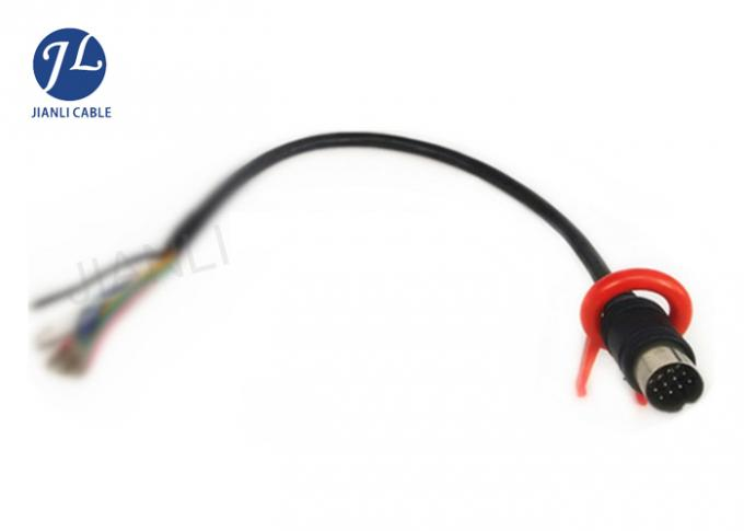 Reverse Monitor Camera 13 Pin Din Cable , 10M Vehicle Monitoring System Wiring